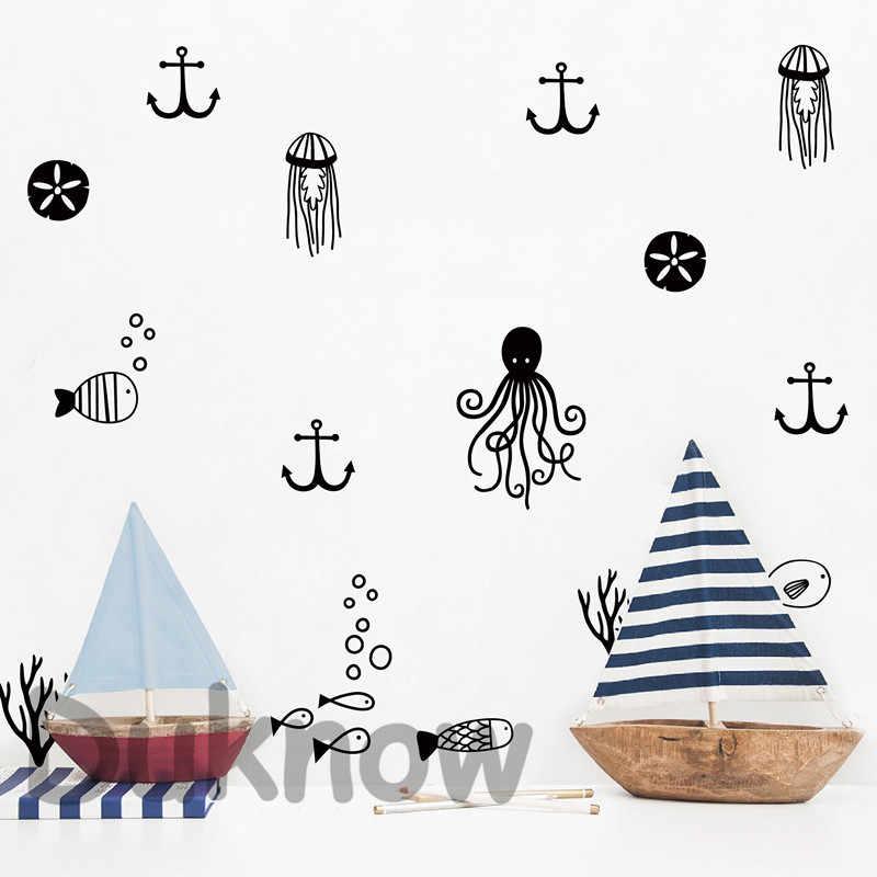 חמוד ים חיים קיר אמנות מדבקות משתלת דקור, ימי אוקיינוס ויניל קיר מדבקת בית חדר ילדים ציור קיר אמנות מדבקות קישוט