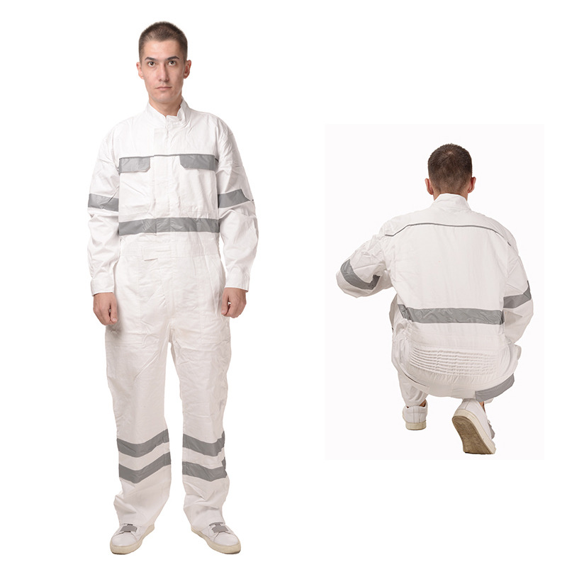 100% cotton white overalls men with reflective tape jumpsuit man working coverall painter все цены