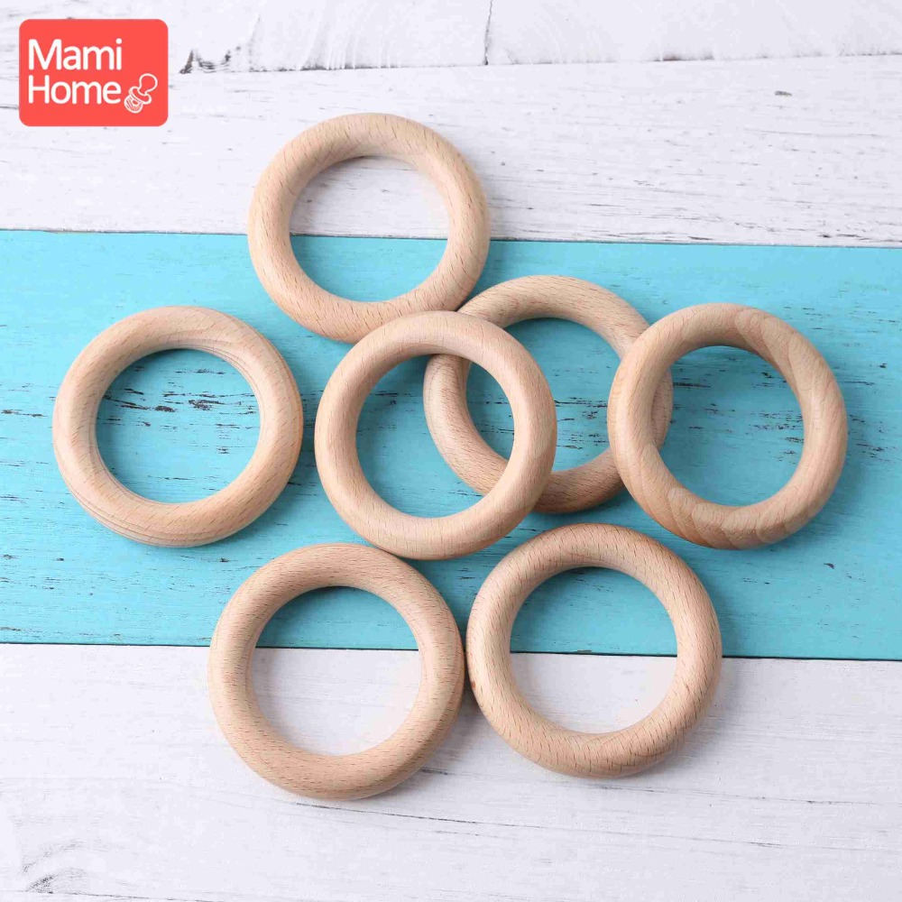 Mamihome 5pc 40mm-80mm Beech Wood Ring Baby Teething Rings Baby Accessories For Baby Necklace Bracelet Making Wooden Teether