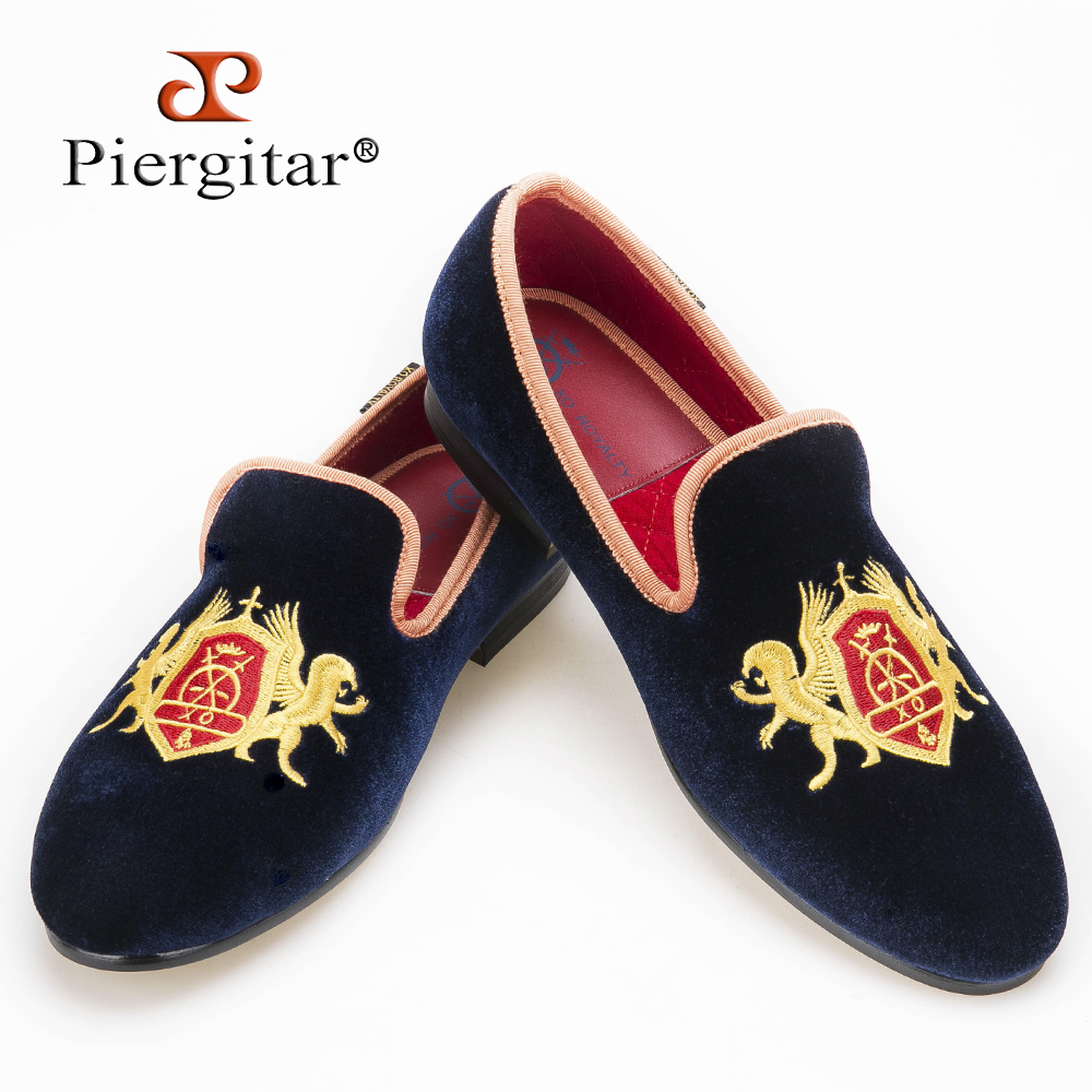 Refinement Embroidery Navy Upper Gold Outsole Velvet Shoes Men Loafers Smoking Slipper Flats size US 4-14