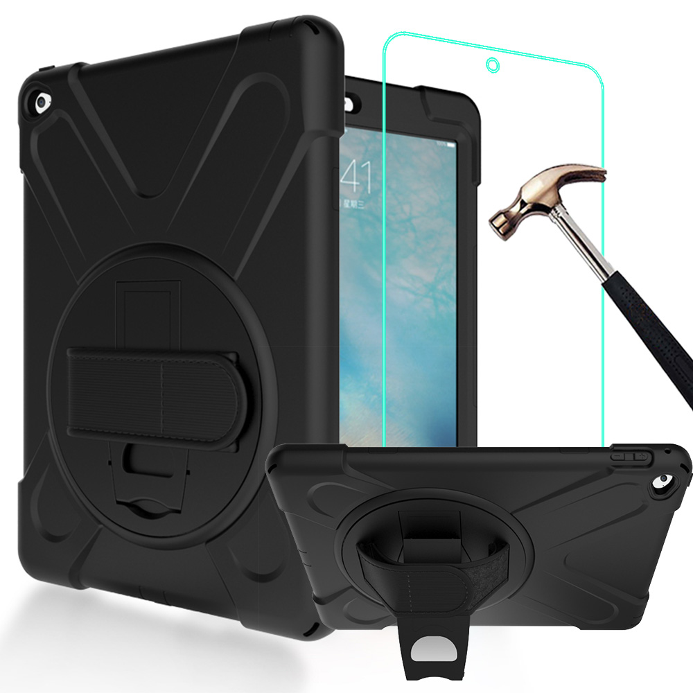3 IN 1 Hybrid PC+Silicone Heavy Duty Rugged Stand Cover Shockproof Full-body Protective Case For iPad Air 2 9.7inch heavy duty armor tablet case cover for ipad mini 1 2 3 a1432 a1454 a1455 a1489 a1599 shockproof tpu pc stand protective shell