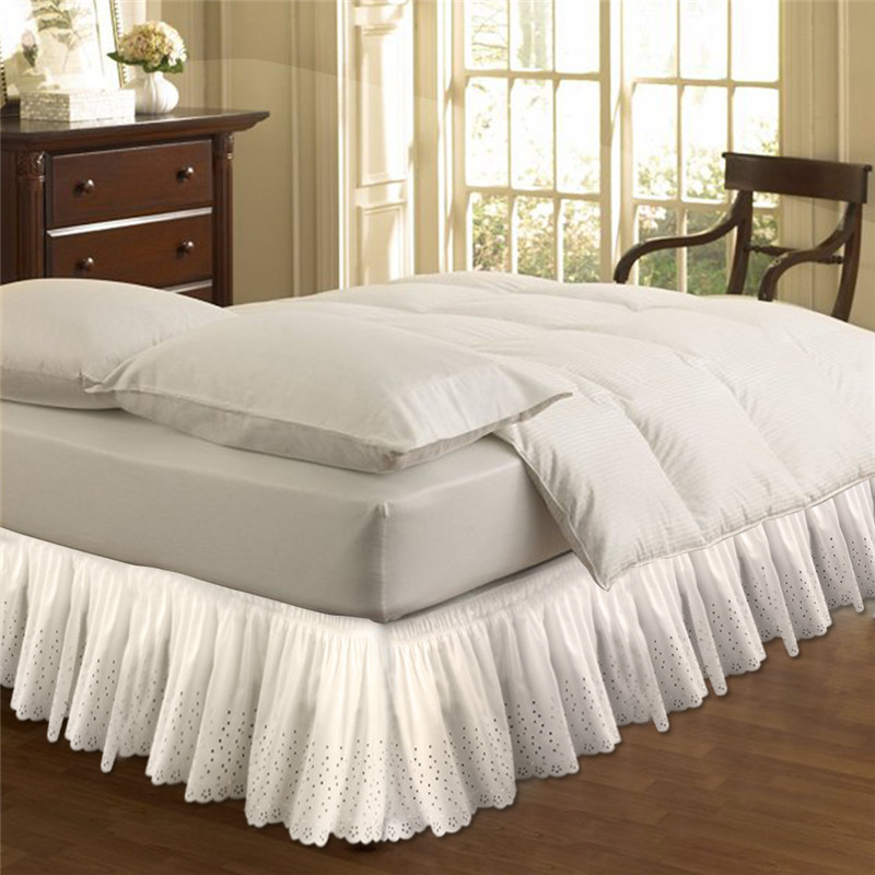 White Beige Embroidered Bed Shirts without Surface Elastic Band Bed Skirt 37cm Height Bed Apron for Wedding Home Use Queen SizeWhite Beige Embroidered Bed Shirts without Surface Elastic Band Bed Skirt 37cm Height Bed Apron for Wedding Home Use Queen Size