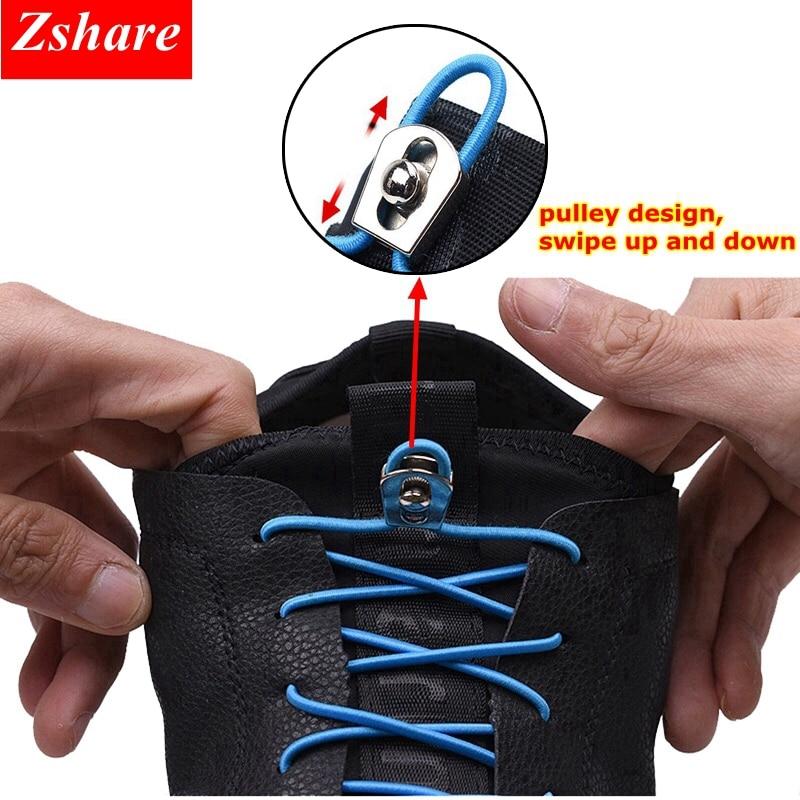 1Pair Metal Lock Elastic Shoe Laces No Tie ShoeLaces Kids Adult Quick Sneakers Shoelace Round Shoe Lace 18 Color Lacet Chaussure