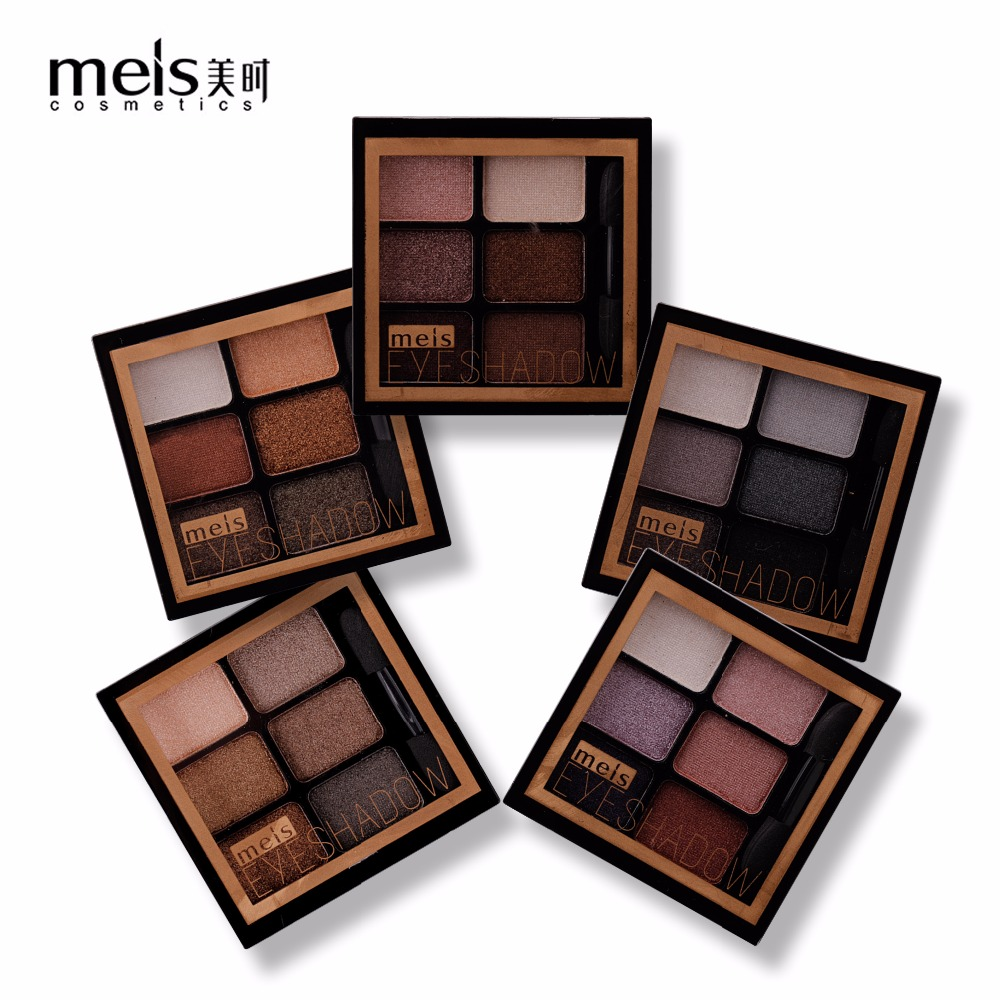 MEIS New Arrival Charming Eyeshadow 6 Color Eye Shadow Palette Make Up Palette Shimmer Pigmented EyeShadow Powder Fashion Color