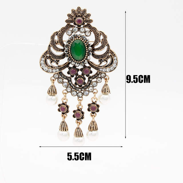 6c2ad6324 Vintage Indian Women Resin Simulated Pearl Flower Brooch Pin Turkish  Jewelry Antique Gold Color Bridal Wedding Ethnic Corsage-in Brooches from  Jewelry ...