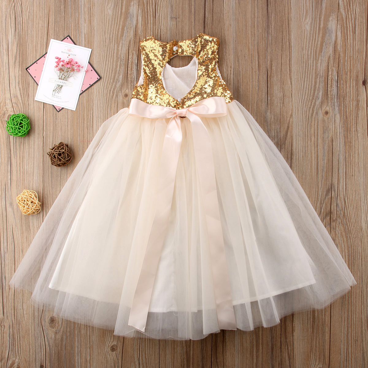 New   Flower     Girl     Dress   Sleeveless Long Maxi   Dress   Lace Tulle Party   Dress   Gown Formal Occasion   Dresses   2-7T