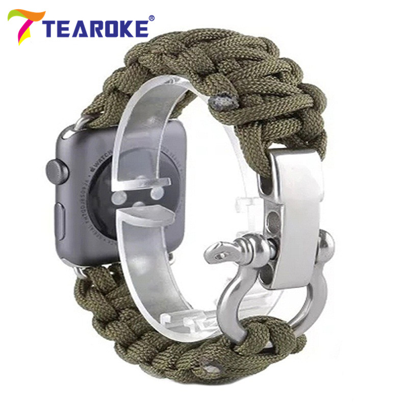 TEAROKE Woven Nylon Rope Watchband For Apple Watch iwatch 38mm 42mm Military Tactical Parachute Cord Survival Band Outdoors oumily reflective multi purpose paracord nylon rope cord reflective grey 30m 140kg