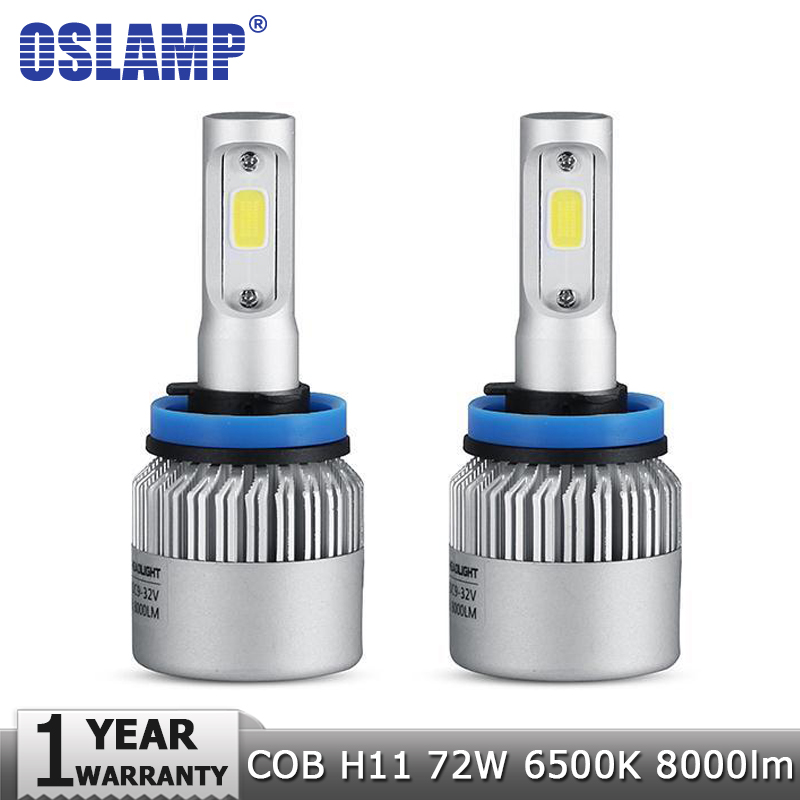 Oslamp H11 LED Headlight COB 72W Car Led Headlights Bulb Fog Light 6500K Auto Headlamp for Toyota/VW/Hyundai/Kia/Chevrolet/Mazda  1pair h8 h9 h11 car led headlight bulb cob 72w 8000lm car led fog lights auto led headlamp bulbs for vw hyundai toyota kia honda