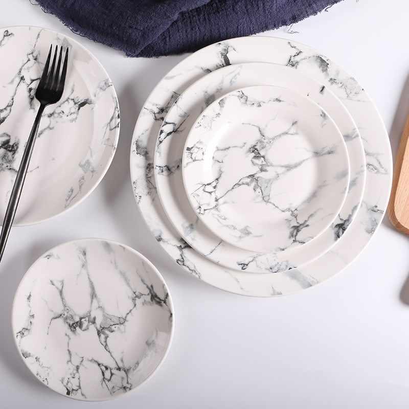 Textura de mármore cerâmica bandejas 6/8/10 Polegada porcelana branca prato eco-amigável casa presente moderno cerâmica jantar bife placa