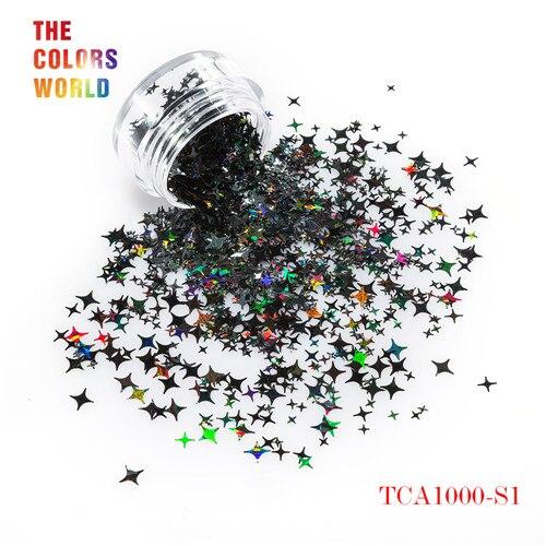 TCT-132, 12 цветов, четыре угла, форма звезд, блестки для ногтей, блестки для украшения ногтей, макияж, боди-арт, сделай сам - Цвет: TCA1000-S1   50g