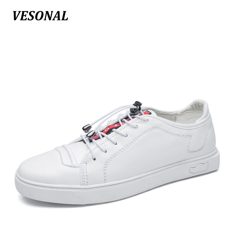 VESONAL men casual shoes Luxury Brand Genuine Leather Flat Fashion Designer Breathable Mens Shoes Casual Male Footwear SD6219