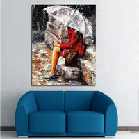 Large Rainy Scenery Pictures Hand Painted Abstract Landscape Oil Paintings Home Decor Wall Art Woman Umbrella Painting on Canvas
