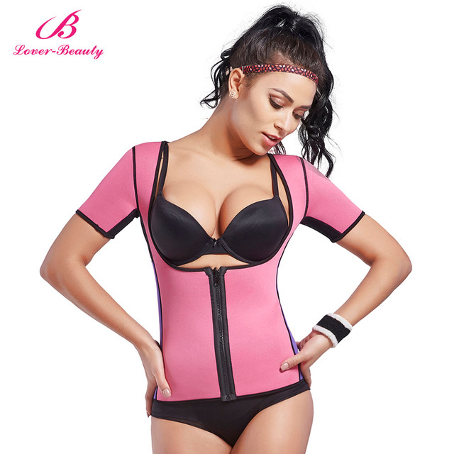 c3842cca2b538 Lover Beauty Neoprene Slimming Hot Vest With Sleeves Exercise Top Sauna  Sweat For Weight Loss Body Shaper Tummy Fat Burner-A