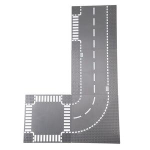Image 1 - TUKATO camino placa base recto cruce la calle. El camino de la placa base piezas de bloques de construcción ladrillos Compatible bloque pequeño foy niños