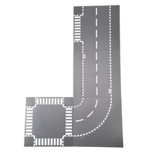 Tukato estrada placa de base reta crossroad vista rua estrada baseplate blocos de construção peças tijolos compatível pequeno bloco foy crianças