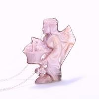 Личность кулон! в виде ракушки ручной Ангел Держит корзину стерлингового серебра драгоценный кулон 925 Best Lucky Jewelry 59x40x6 мм 32,30 г