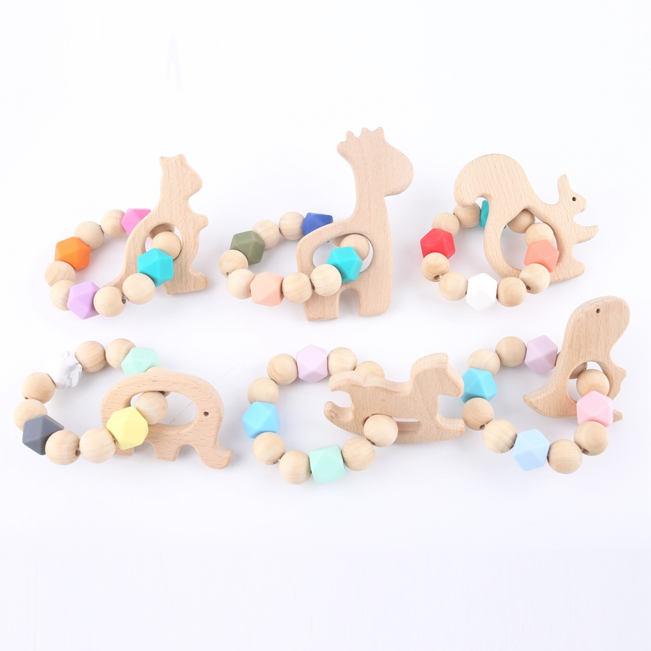 1PC Original Wooden Baby Bracelet Chew Wooden Beads Eco-friendly Primary Unsorted Teether Nursing Rattles Toys Baby Teether