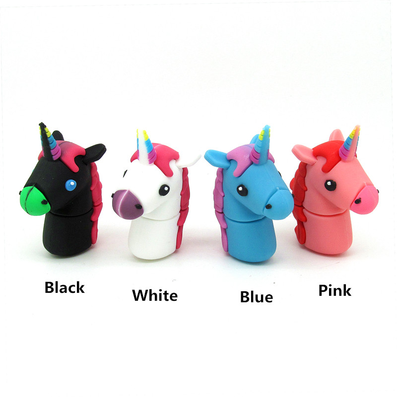 4 Colors Cartoon Unicorn Horse Usb Flash Drive Disk Cute