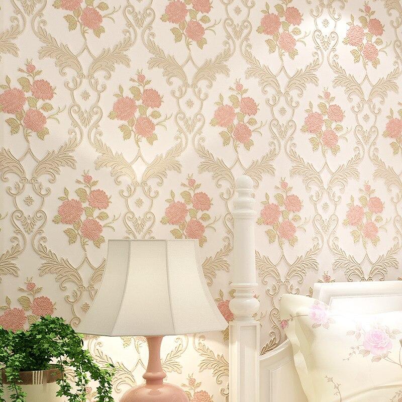 beibehang Pastoral pink flowers Modern Floral Embossed 3D Wallpaper Background Wall Paper For Living Room Desktop Wallpaper roll