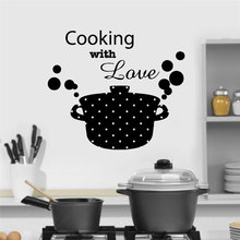 Kitchen Casserole Pan Cooking With Love Quote Wall Stickers Vinyl Art Home Decor Decal Removable Self Adhesive Mural 3158