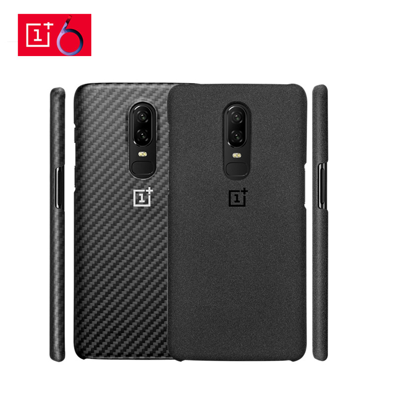 Official For OnePlus 6 Case Cover Original Sandstone Texture Hard PC Case Genuine For One Plus 6 A6000 1+6 Cover Protective