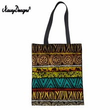 Women African Style Shopping Bag Foldable Cotton Reusable Grocery Bags Tote Bag Blank Leisure Lady Women's Shopping bag Custom недорого