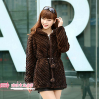 Imported mink thick woven fur hooded jacket leather furry women's coat, anti season promotion