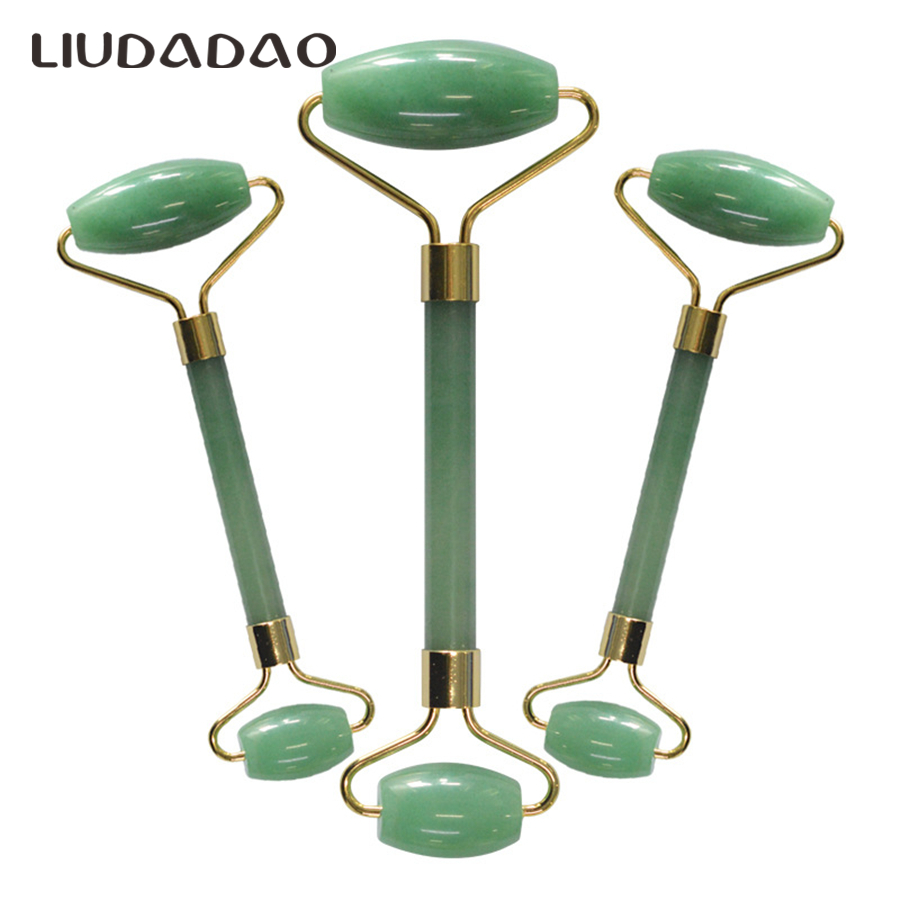 Natural Stone Double Head Face Massager Body Neck Rollers Green Aventurine Facial Rollers