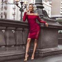 Ocstrade Womens Autumn Long Sleeve Bodycon Dress 2017 Clubwear Party Burgundy Lattice Sexy Off Shoulder Bandage