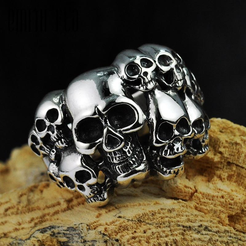 Genuine 100% 925 Sterling Silver Vintage Punk Locomotive Skull Ring For Men Fashion Jewelry