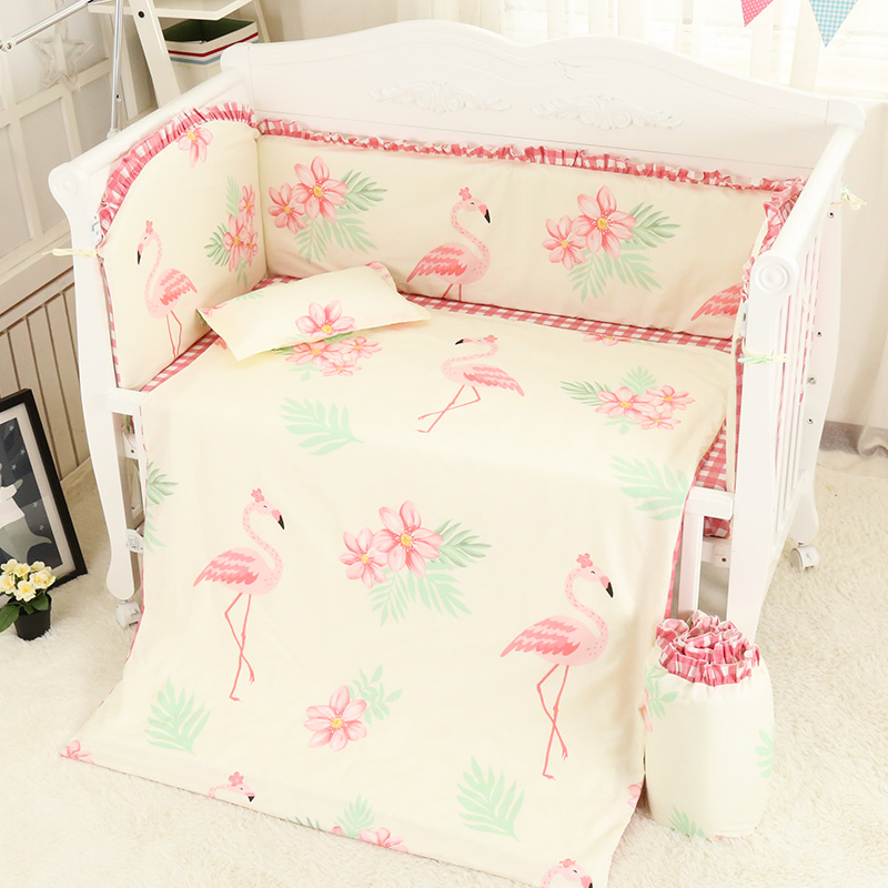 6/7 Pcs sets cotton crib bumpers baby cot sets bed protector child bedding set pillowcase duvet cover bed sheets Pink flamingo 2 0m 4pcs flamingo print striped duvet cover set