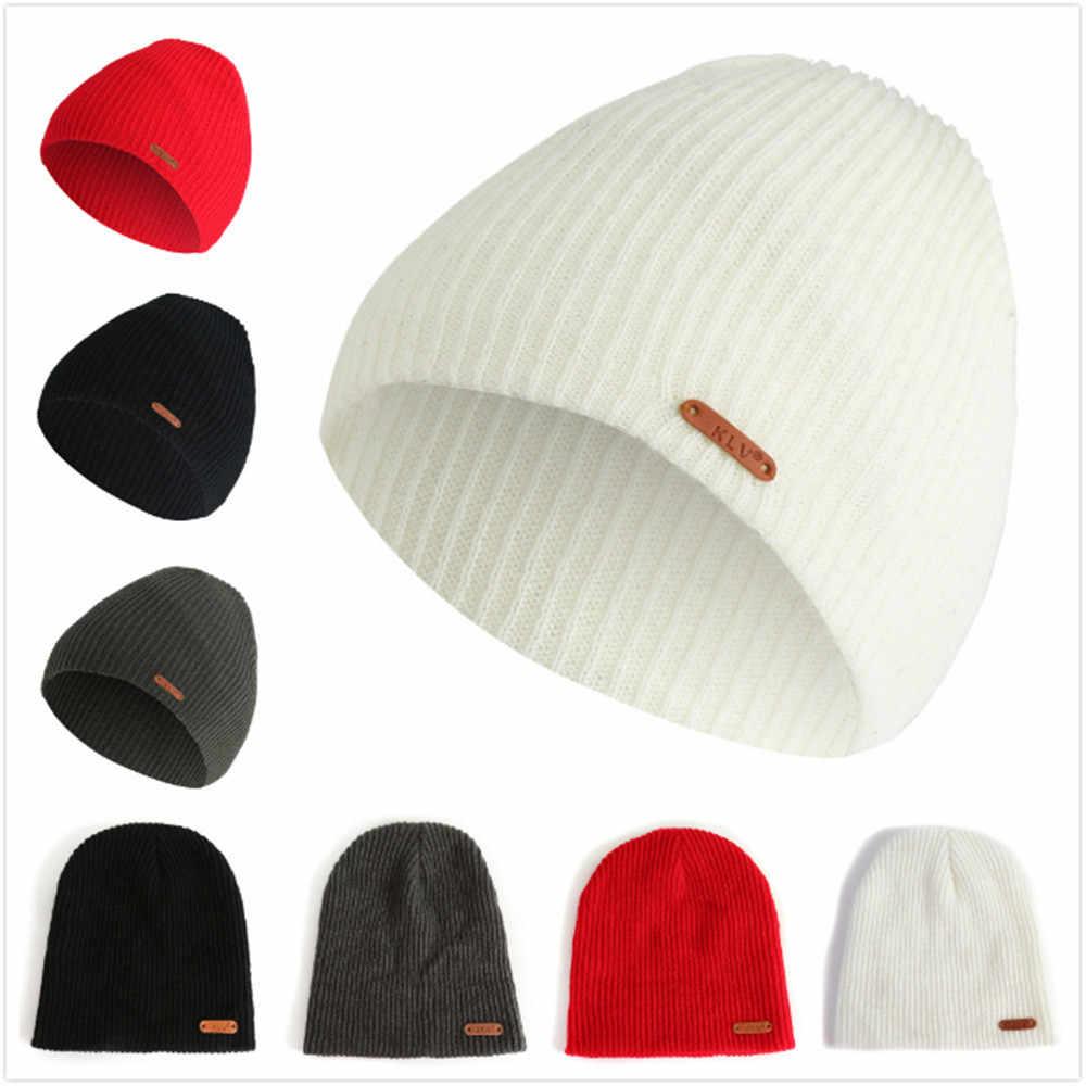 a40bf78f85d fall winter 2018Men Women Baggy Warm Crochet Winter Wool Knit Ski Beanie  Skull Slouchy Caps Hat