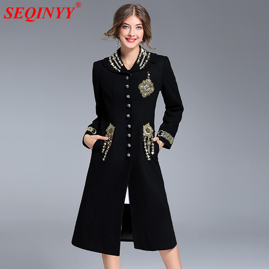Black Retro Luxury Coat 2017 Winter High Quality XXXL Thick Heavy Work Beading Embroidery Exquisite Buttons