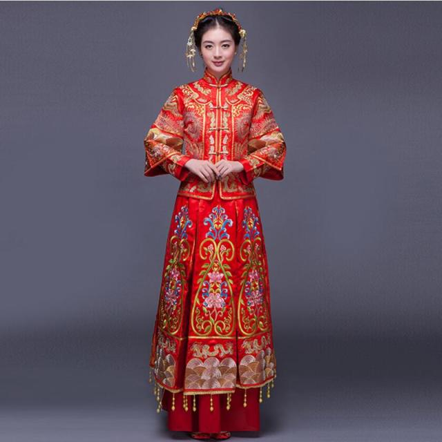 luxury ancient royal red embroidery chinese bride wedding