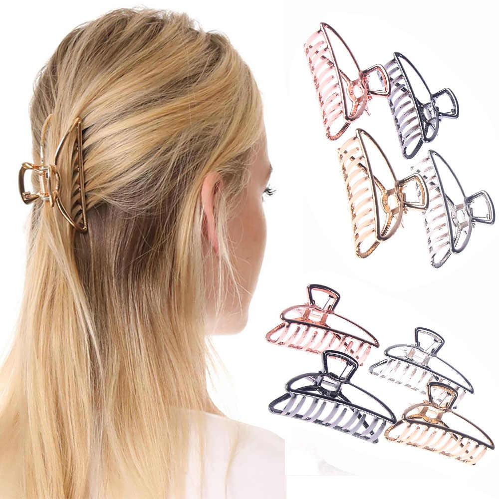 2020 kadın kızlar geometrik saç pençe kelepçeleri saç yengeç ay şekli saç tokası pençeleri düz renk aksesuarları firkete büyük/Mini boyutu