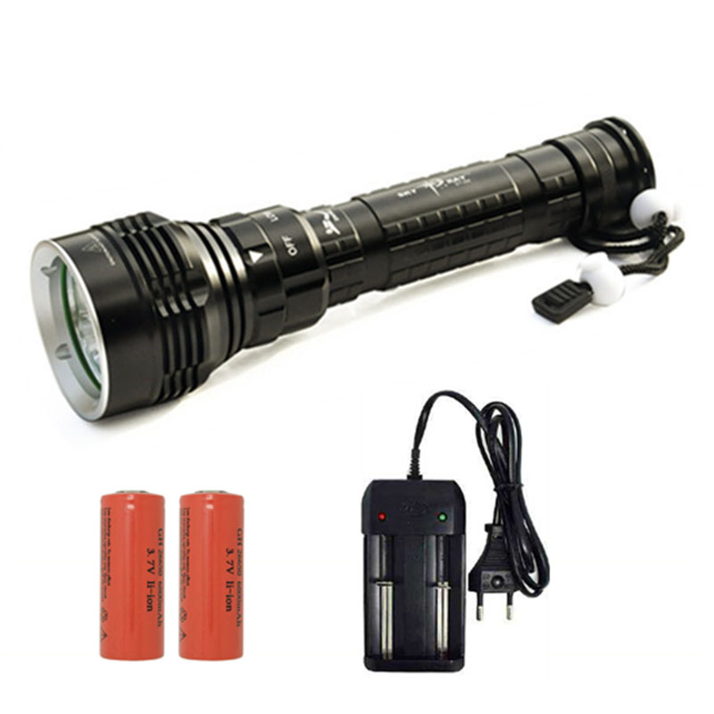 New 8000Lm Scuba Diving 5 x XM-L2 LED Rechargeable Flashlight Torch Light With 2 x 26650 Battery + Charger For Camping Hunting