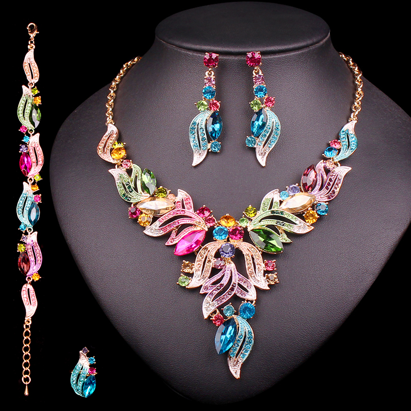 New Luxury Indian Bridal Jewelry Sets Wedding Party Costume Jewellery Womens Fashion Gifts Leaves Crystal Necklace Earrings Sets