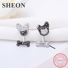 SHEON Authentic 925 Sterling Silver Pave Sparkling Zircon Cute Puppy and Bones Stud Earrings for Women Jewelry