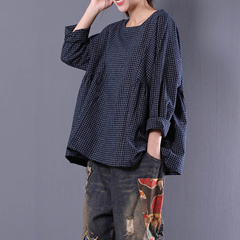 Top Blusas 2019 Women Crew Neck Long Sleeve Plaid Check Autumn Cotton Linen Casual Party Pleated Flounce   Blouse     Shirt   Plus Size
