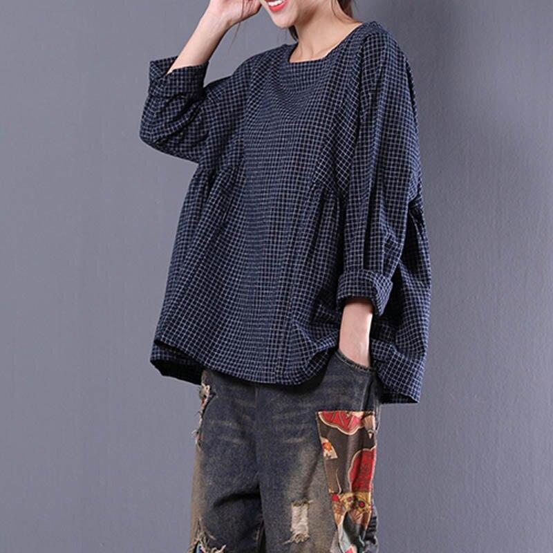 Top Blusas 2019 Women  Crew Neck Long Sleeve Plaid Check Autumn Cotton Linen Casual Party Pleated Flounce Blouse Shirt Plus Size