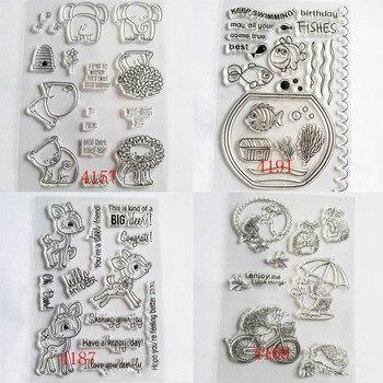 Decoración de álbum de fotos plantillas en relieve para carpetas hojas niños Juguetes DIY Scrapbooking mano cuenta sellos transparentes claros