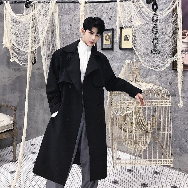 Мужской двубортный Модный деловой Повседневный длинный Тренч Мужской винтажный Свободный кардиган куртка осень весна Пара Одежда
