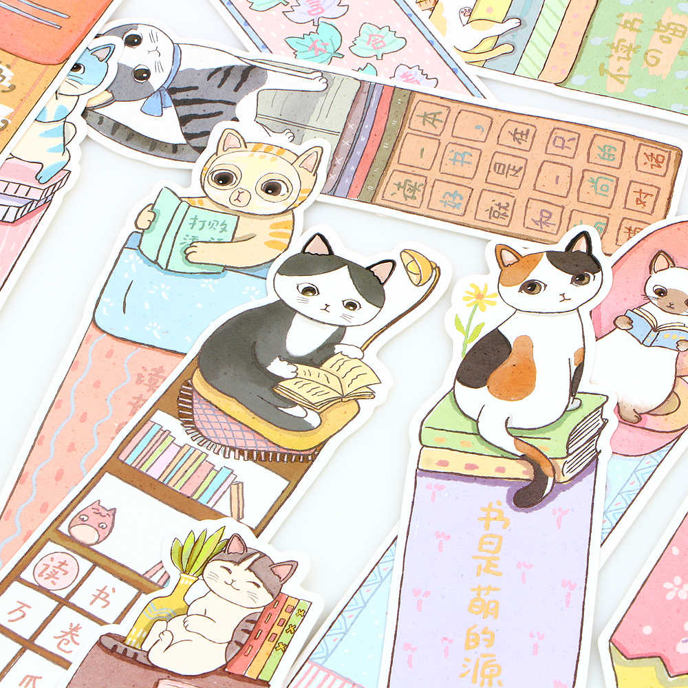 30 Buah Lucu Lucu Kucing Bookmark Kertas Kartun Hewan Bookmark Promosi Hadiah Alat Tulis Bookmark