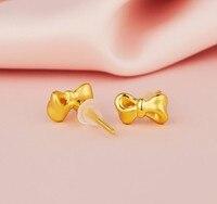 1 Pcs 999 24K Yellow Gold Earrings Lovely Butterfly Knot Earring Stud