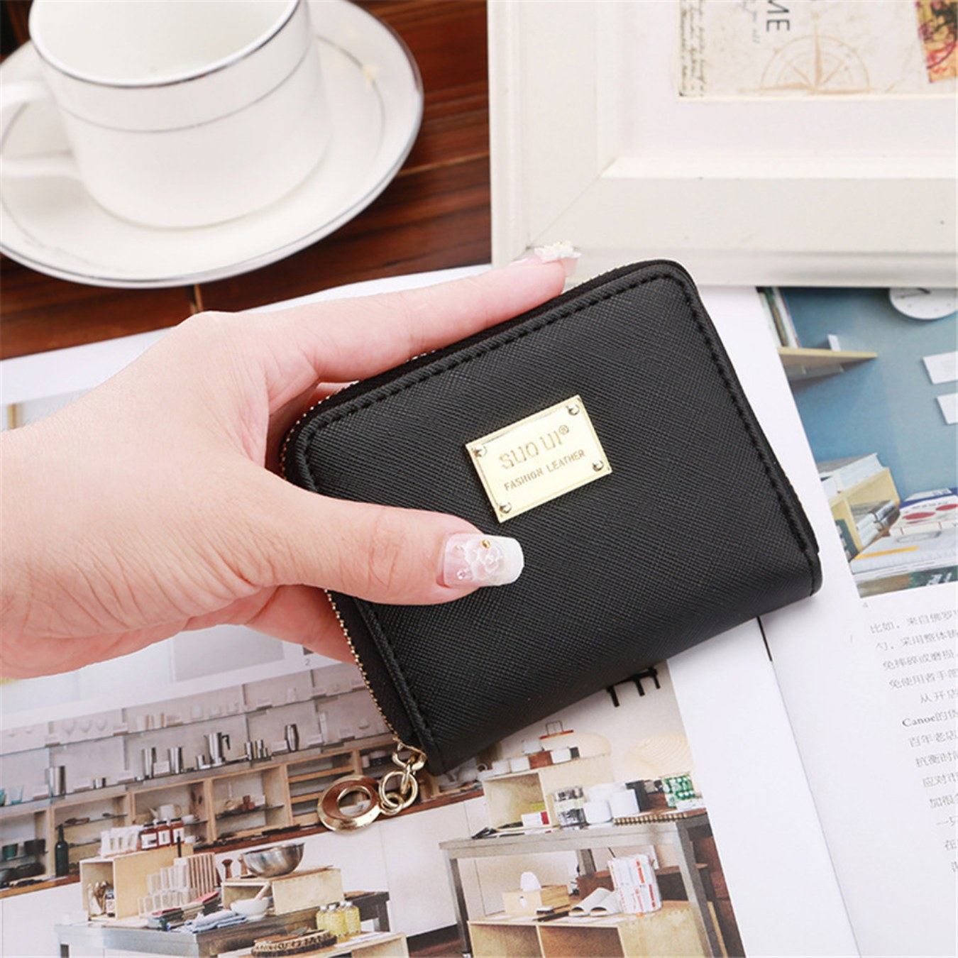 High Quality Women Wallet Metal Sheets Decorate PU Leather Wallet Women Zipper Wallet Women Short Coin Purse 2019