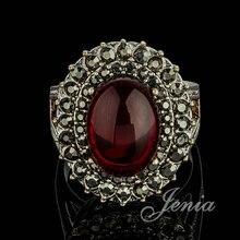 JENIA Brand Antique Silver Plated Marcasite Red Garnet Finger Ring for Women XR242