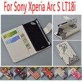 Caso de cuero para Sony Ericsson Xperia Arc S LT18i / LT LT18 18 18I I cubierta del tirón para Sony X12 Xperia Arc LT15i teléfono cubre casos