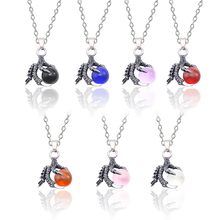 Fashion Retro Dragon Claw Crystal Ball Necklace For Women Silver Metal Pendant In Jewelry Gift Dropshipping