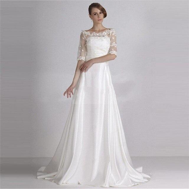 Vintage Satin Scoop Beach Wedding Dress Y Lace Back 1 2 Sleeve Vestido De Noiva
