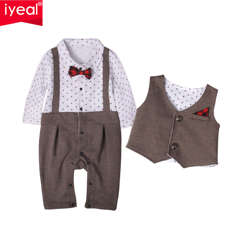 IYEAL 2017 BRAND New Baby Suit Formal Gentleman Boys Clothing Set long-sleeved Romper+Vest Toddler Infant Bebe Baby Boy Clothes baby college waistcoat romper 2016 new born gentlemen 2 pcs romper hat clothing set infant wedding party formal suit